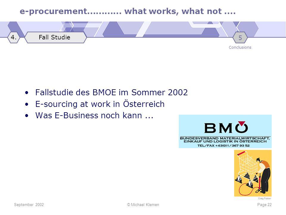 Fallstudie des BMOE im Sommer 2002 E-sourcing at work in Österreich