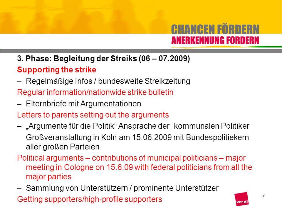 3. Phase: Begleitung der Streiks (06 – 07.2009)