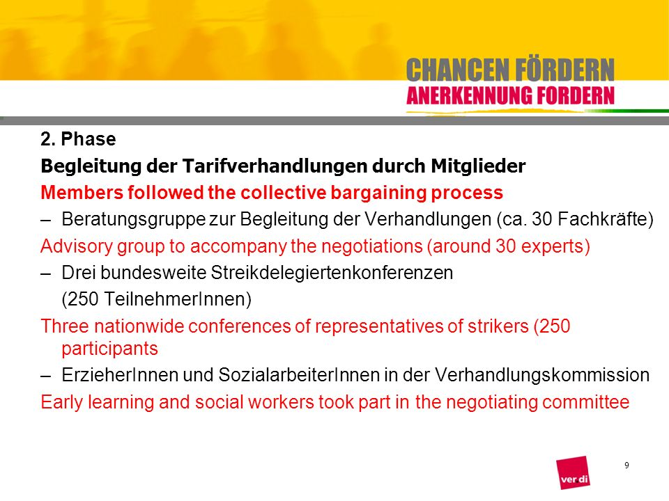 2. Phase Begleitung der Tarifverhandlungen durch Mitglieder. Members followed the collective bargaining process.