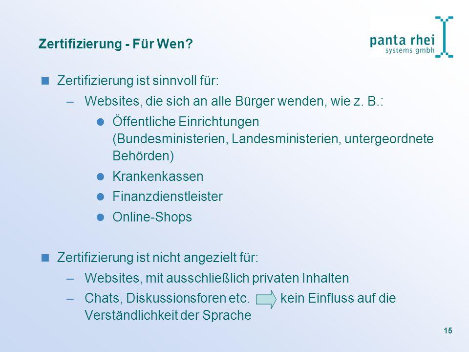 Zertifizierung - Für Wen