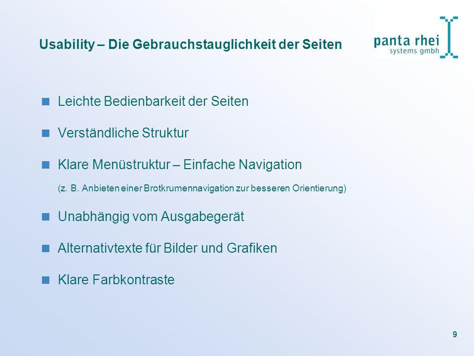 Usability – Die Gebrauchstauglichkeit der Seiten