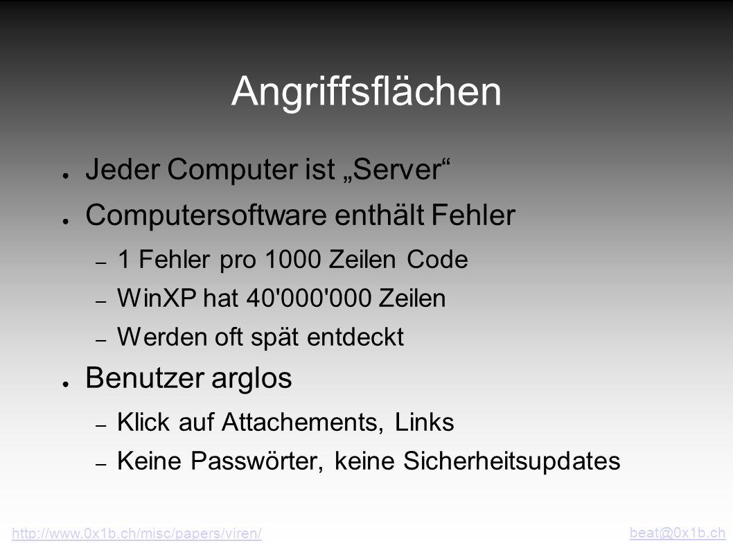 """Angriffsflächen Jeder Computer ist """"Server"""