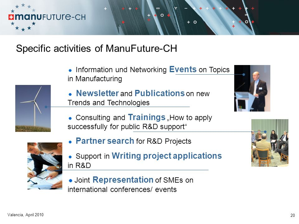 Specific activities of ManuFuture-CH