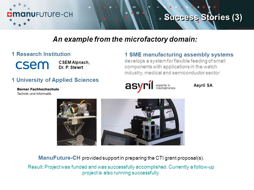 An example from the microfactory domain: