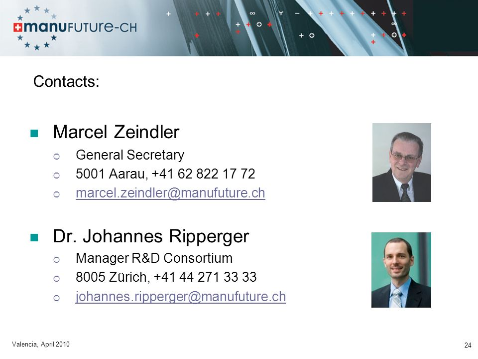 Marcel Zeindler Dr. Johannes Ripperger Contacts: General Secretary