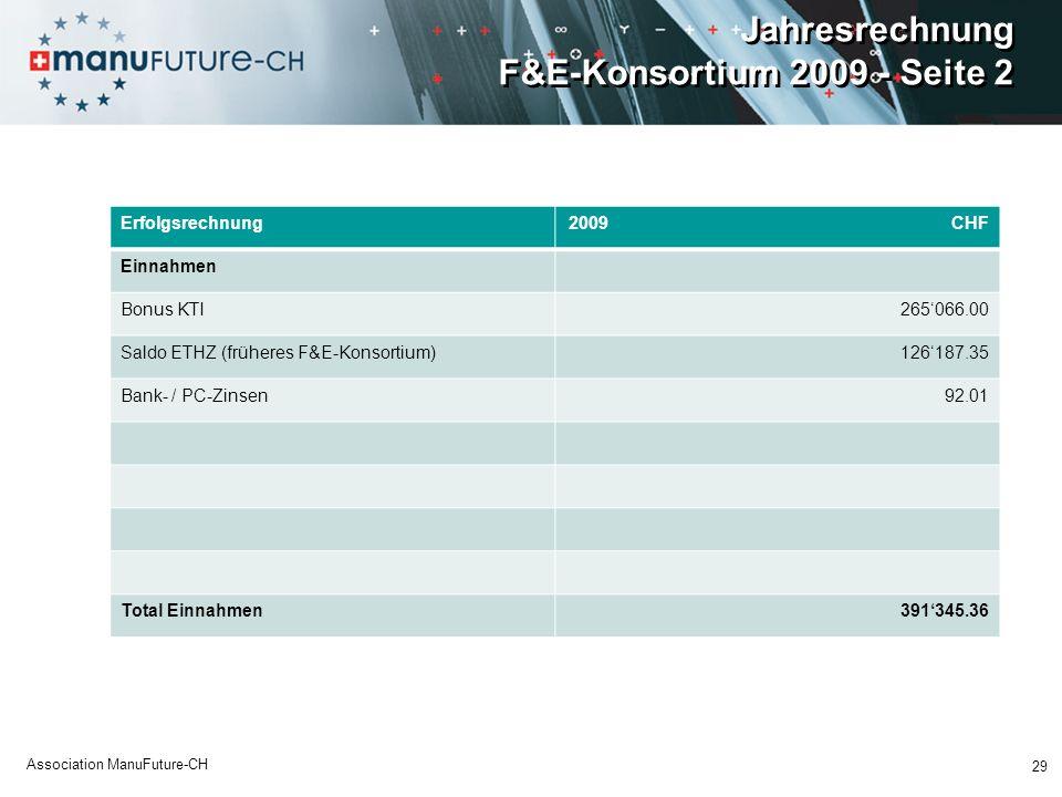 Jahresrechnung F&E-Konsortium 2009 - Seite 2