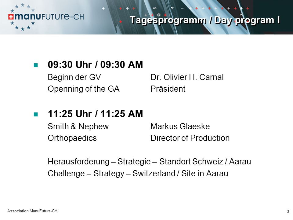 Tagesprogramm / Day program I