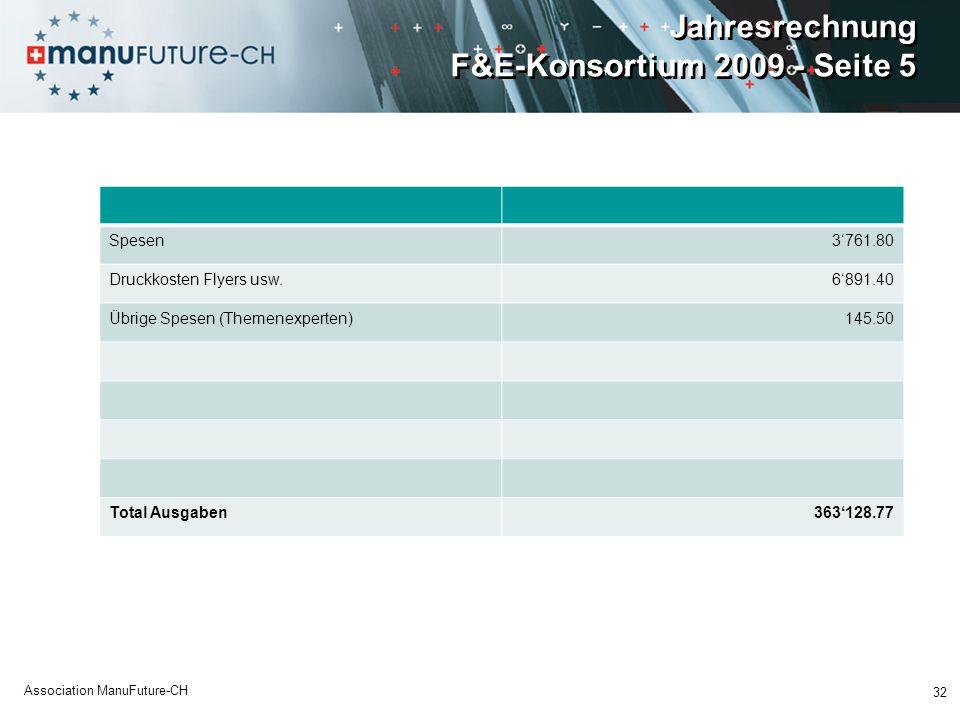 Jahresrechnung F&E-Konsortium 2009 - Seite 5