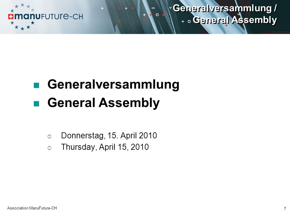 Generalversammlung / General Assembly