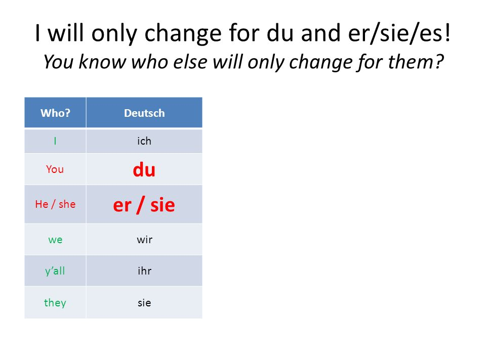 I will only change for du and er/sie/es