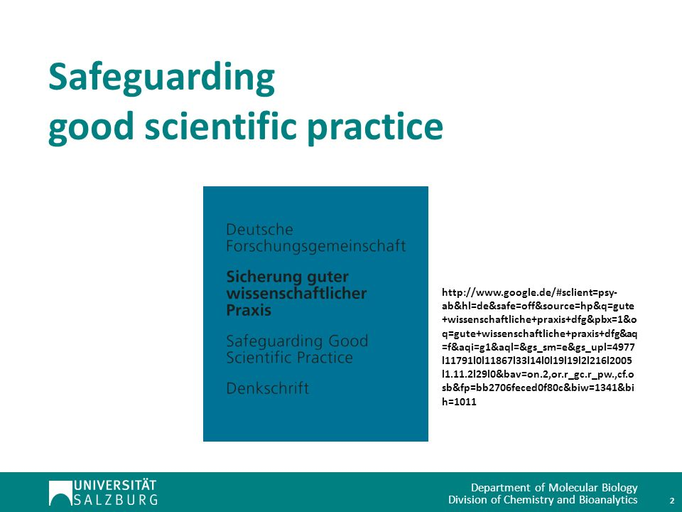Safeguarding good scientific practice