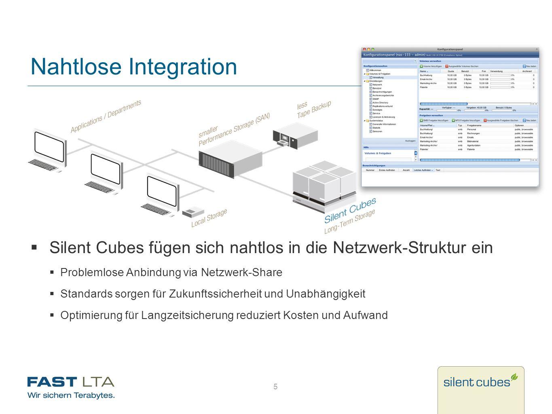 Nahtlose Integration Silent Cubes fügen sich nahtlos in die Netzwerk-Struktur ein. Problemlose Anbindung via Netzwerk-Share.