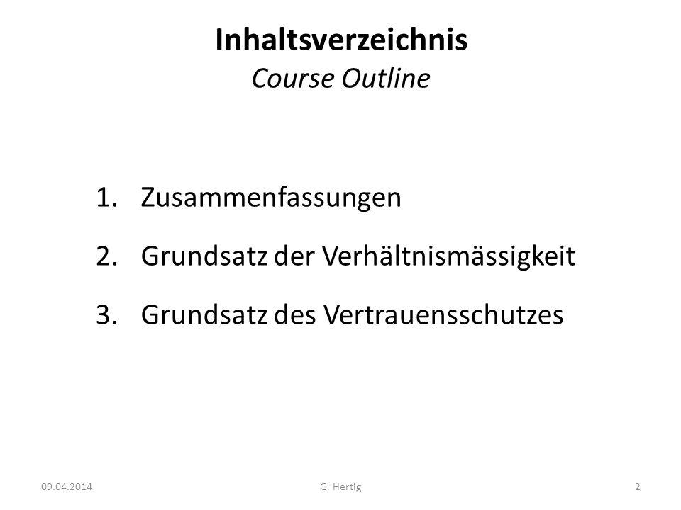 Inhaltsverzeichnis Course Outline