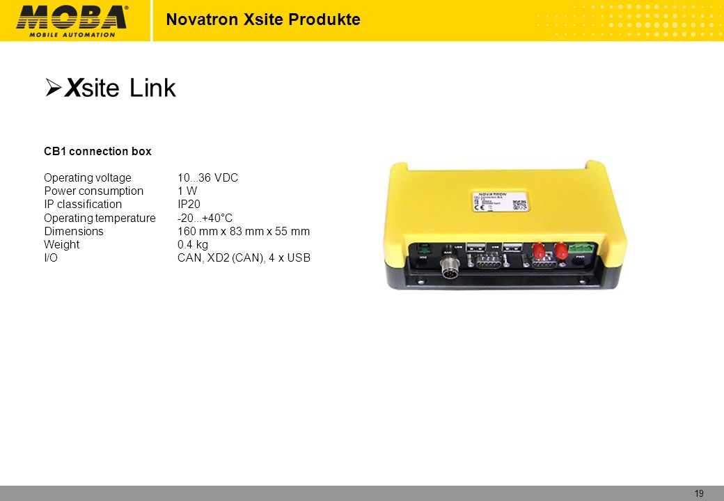 Xsite Link Novatron Xsite Produkte CB1 connection box
