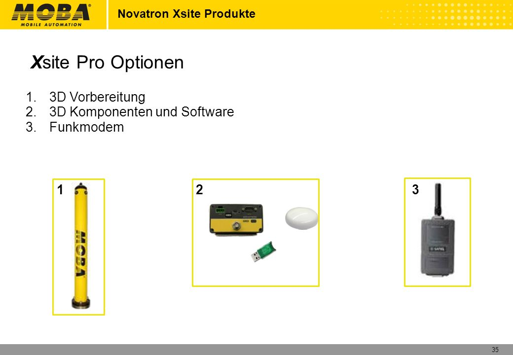 Xsite Pro Optionen 3D Vorbereitung 3D Komponenten und Software