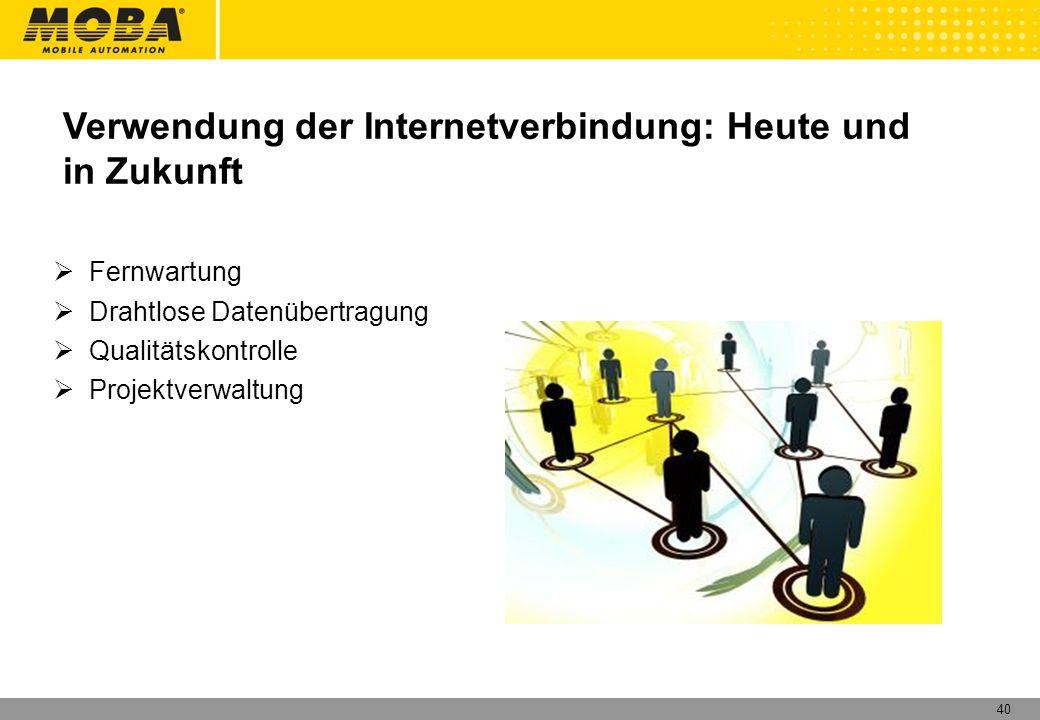 Verwendung der Internetverbindung: Heute und in Zukunft