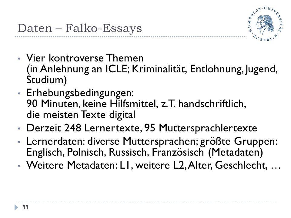 Daten – Falko-Essays Vier kontroverse Themen (in Anlehnung an ICLE; Kriminalität, Entlohnung, Jugend, Studium)