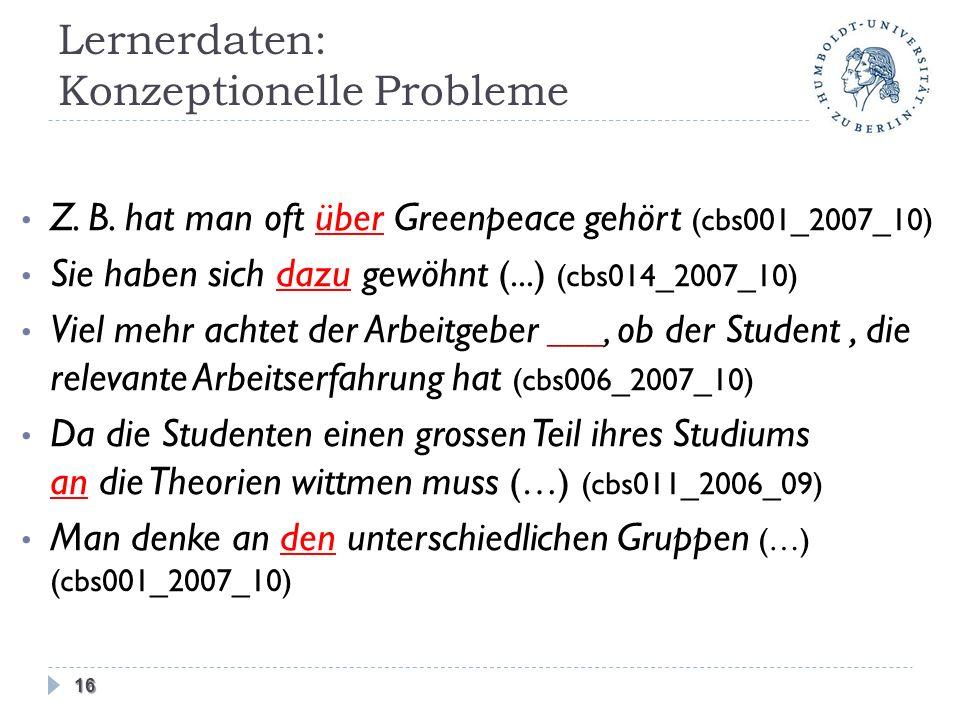 Lernerdaten: Konzeptionelle Probleme