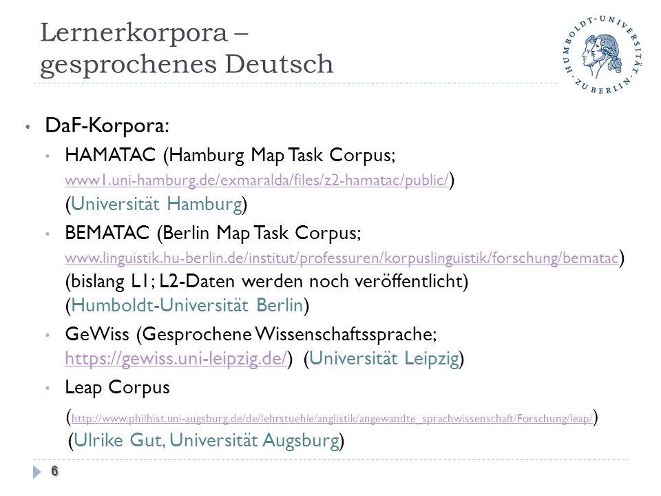 Lernerkorpora – gesprochenes Deutsch