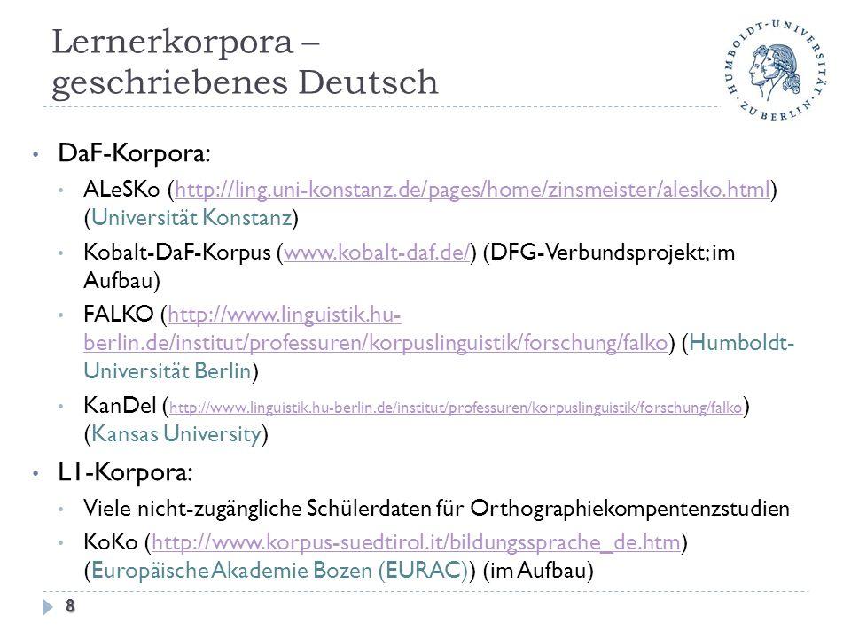 Lernerkorpora – geschriebenes Deutsch