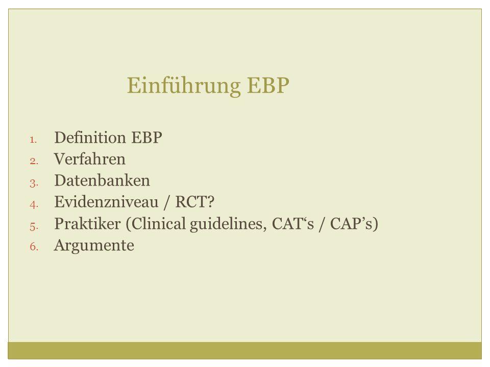 Einführung EBP Definition EBP Verfahren Datenbanken