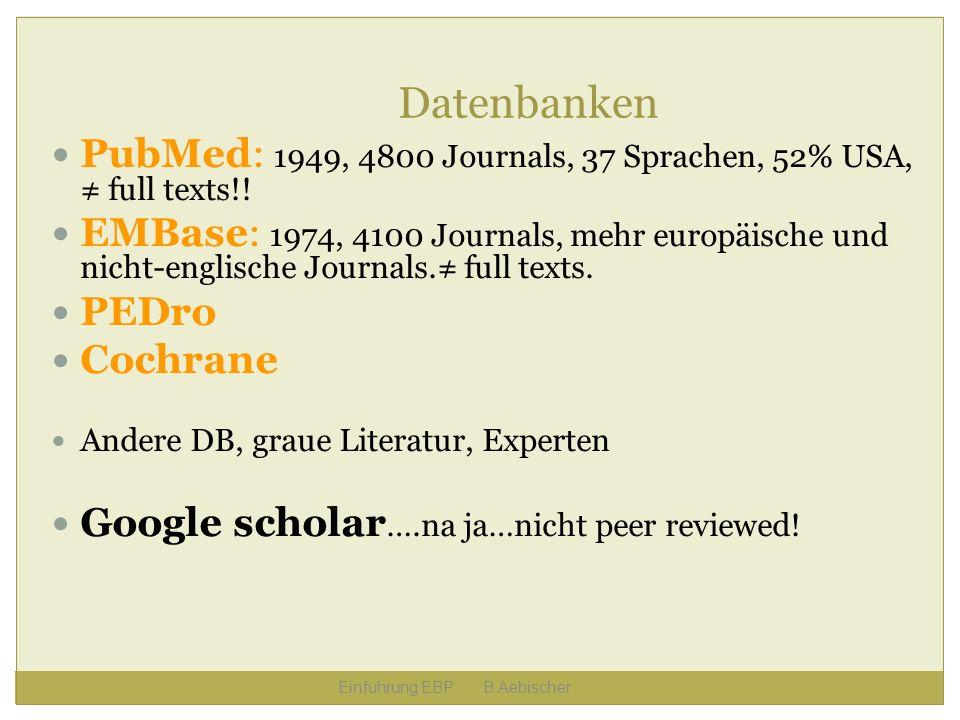 Datenbanken PubMed: 1949, 4800 Journals, 37 Sprachen, 52% USA, ≠ full texts!!