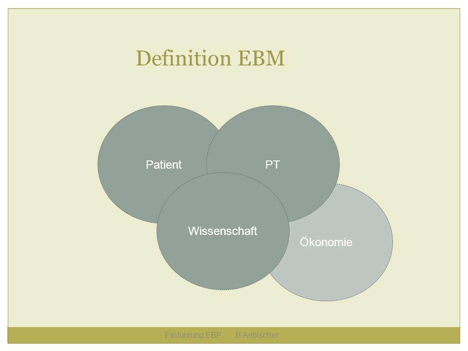 Definition EBM Patient PT Wissenschaft Ökonomie