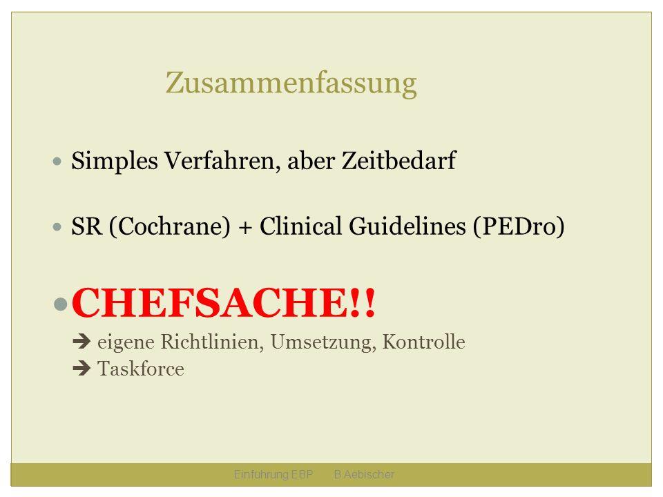 CHEFSACHE!! Zusammenfassung Simples Verfahren, aber Zeitbedarf