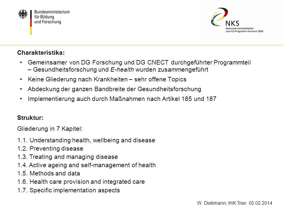 Charakteristika: Gemeinsamer von DG Forschung und DG CNECT durchgeführter Programmteil – Gesundheitsforschung und E-health wurden zusammengeführt.