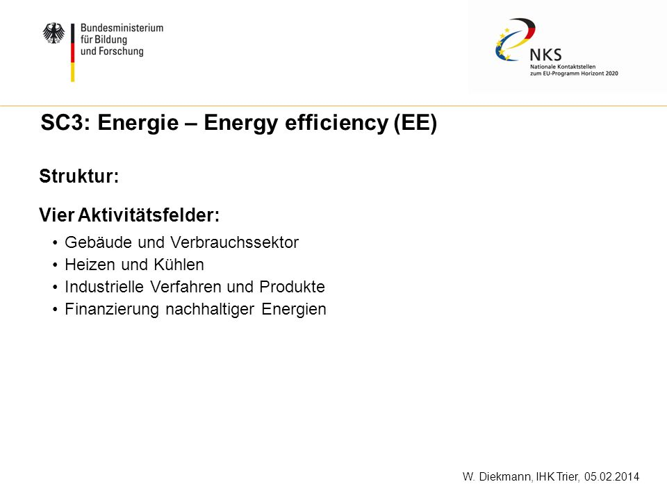 SC3: Energie – Energy efficiency (EE)