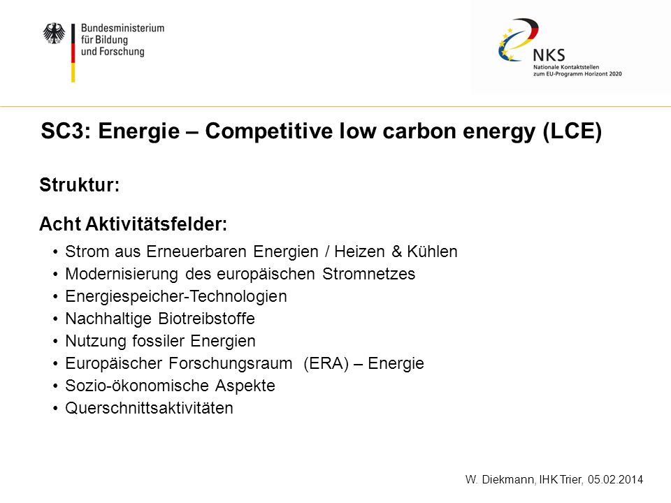 SC3: Energie – Competitive low carbon energy (LCE)