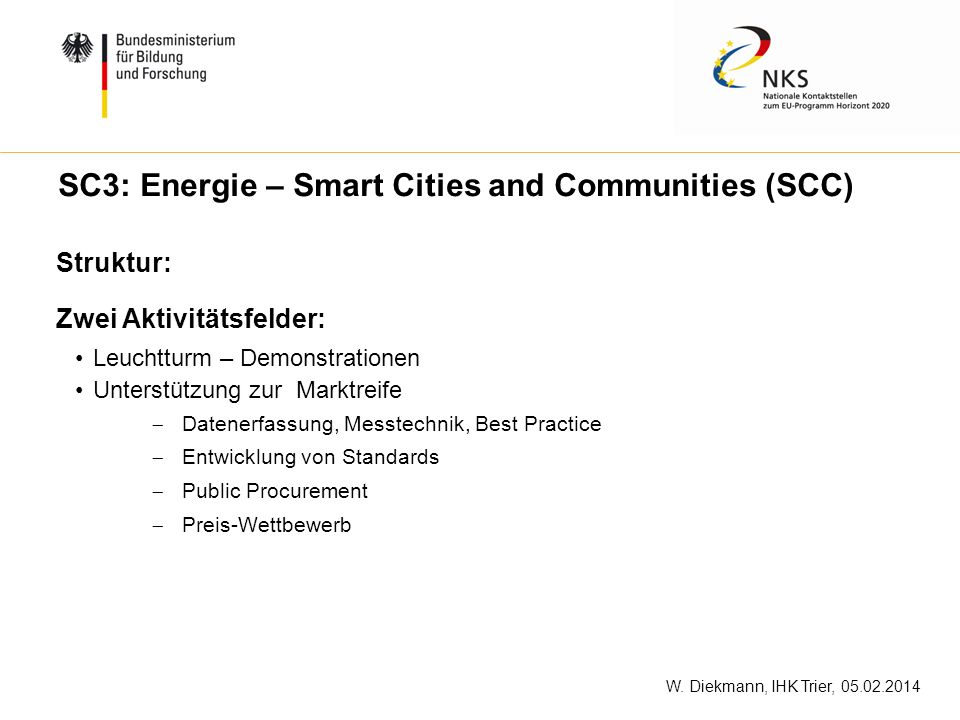 SC3: Energie – Smart Cities and Communities (SCC)