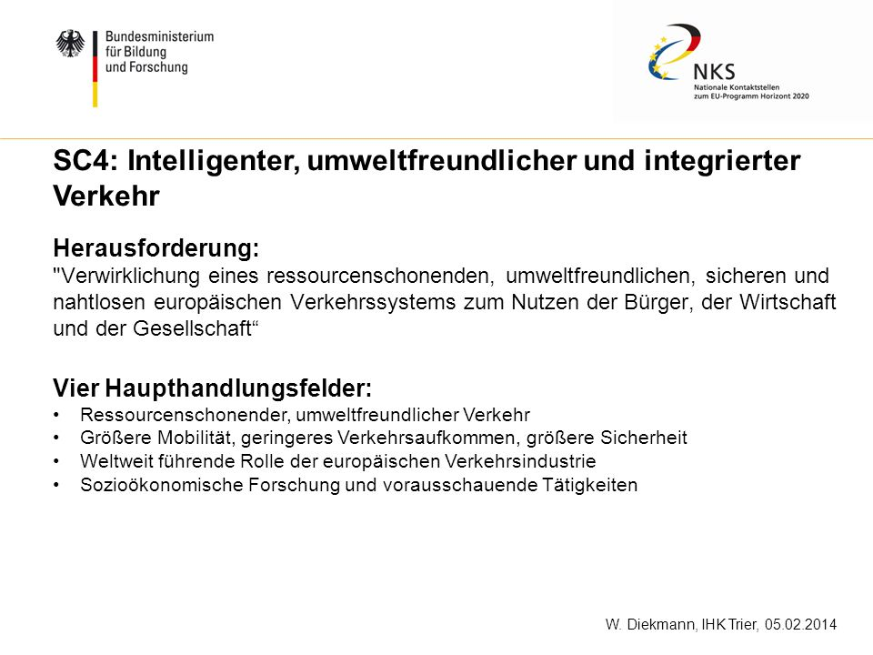 SC4: Intelligenter, umweltfreundlicher und integrierter Verkehr
