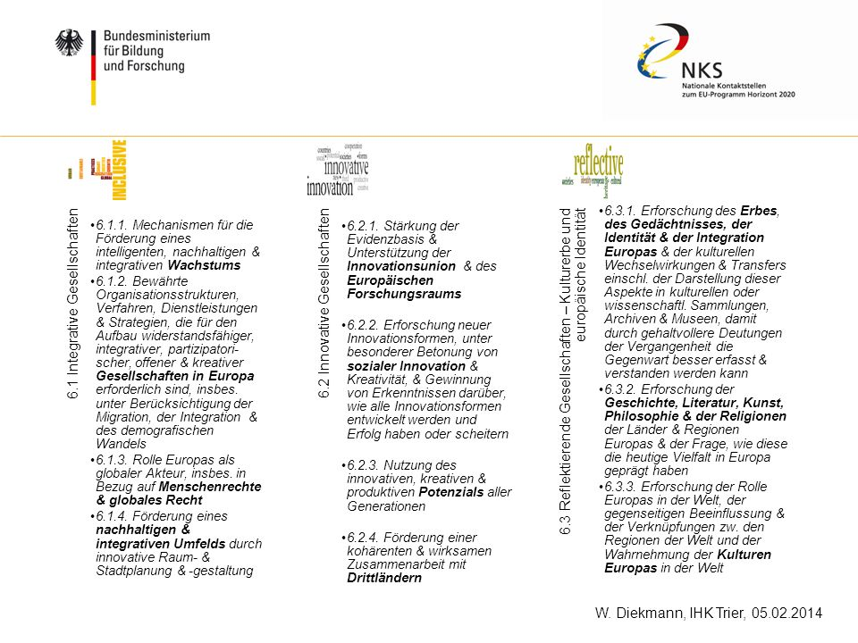 6.1 Integrative Gesellschaften 6.2 Innovative Gesellschaften