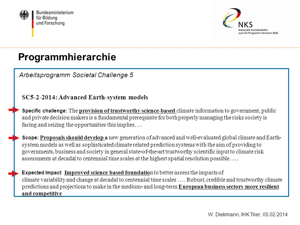Arbeitsprogramm Societal Challenge 5