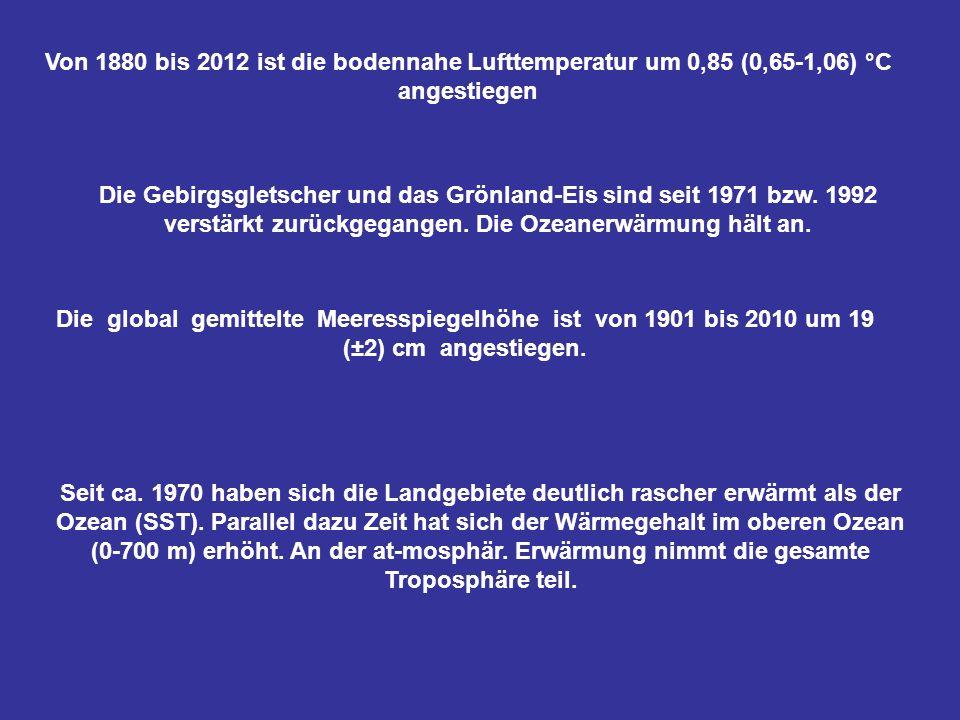 Von 1880 bis 2012 ist die bodennahe Lufttemperatur um 0,85 (0,65-1,06) °C angestiegen
