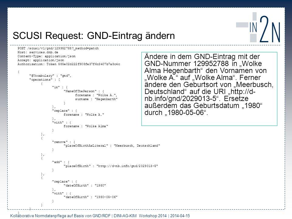 SCUSI Request: GND-Eintrag ändern