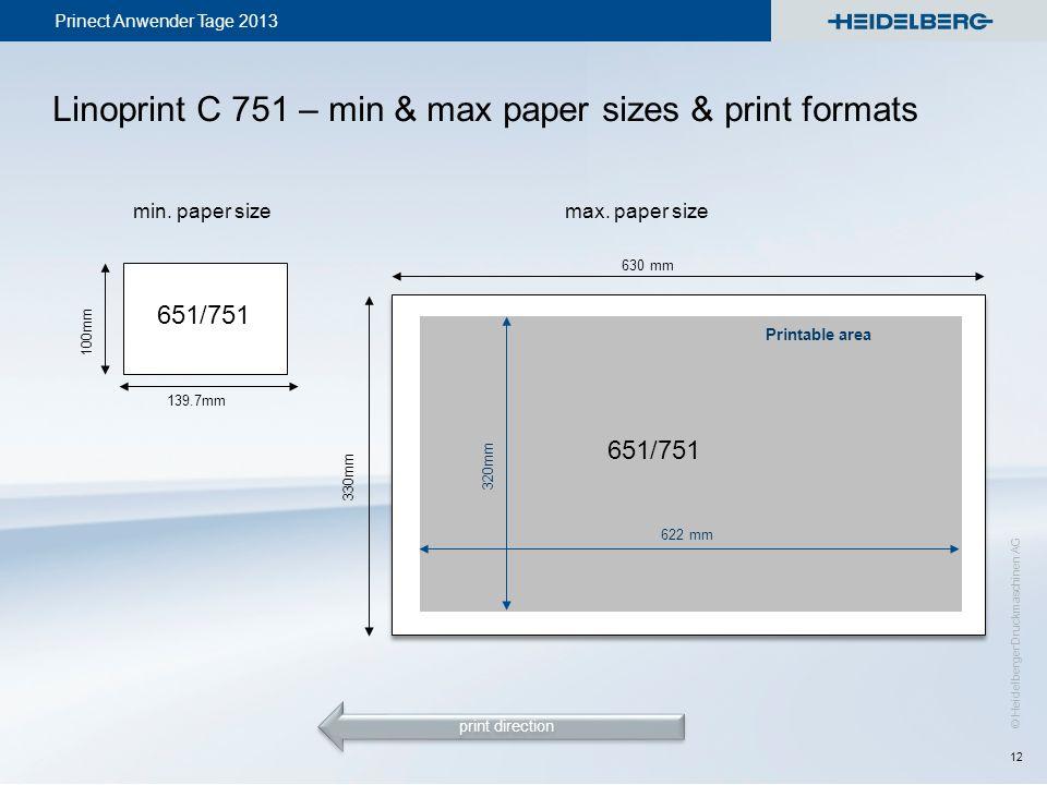 Linoprint C 751 – min & max paper sizes & print formats
