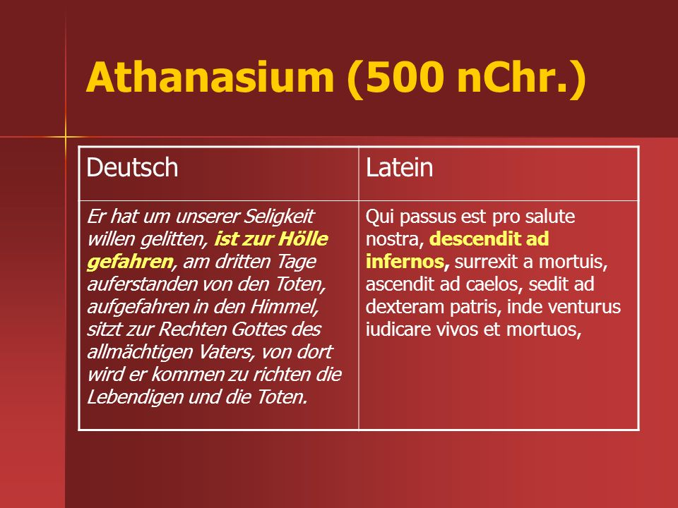 Athanasium (500 nChr.) Deutsch Latein