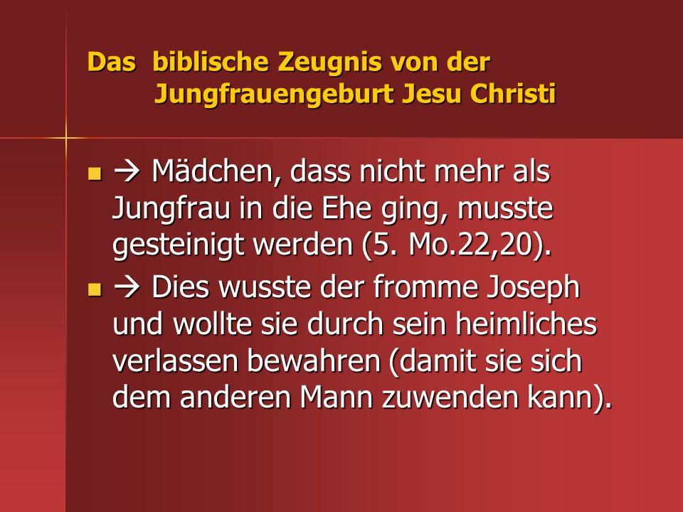 Das biblische Zeugnis von der Jungfrauengeburt Jesu Christi