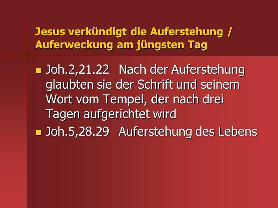 Jesus verkündigt die Auferstehung / Auferweckung am jüngsten Tag
