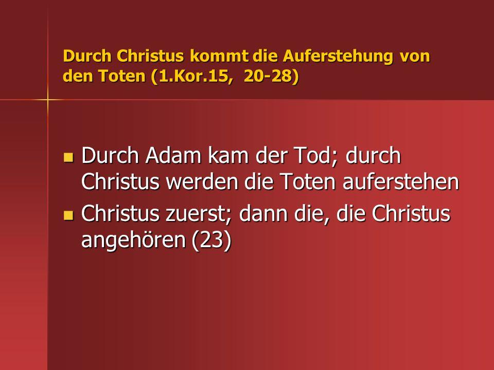 Durch Christus kommt die Auferstehung von den Toten (1.Kor.15, 20-28)