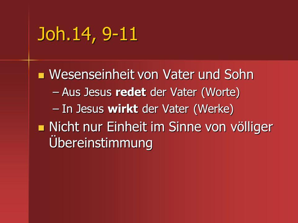 Joh.14, 9-11 Wesenseinheit von Vater und Sohn