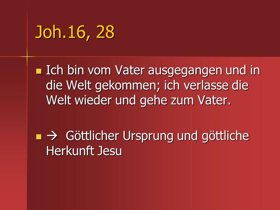 Joh.16, 28 Ich bin vom Vater ausgegangen und in die Welt gekommen; ich verlasse die Welt wieder und gehe zum Vater.