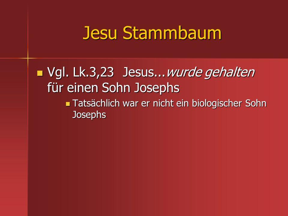 Jesu Stammbaum Vgl. Lk.3,23 Jesus...wurde gehalten für einen Sohn Josephs.
