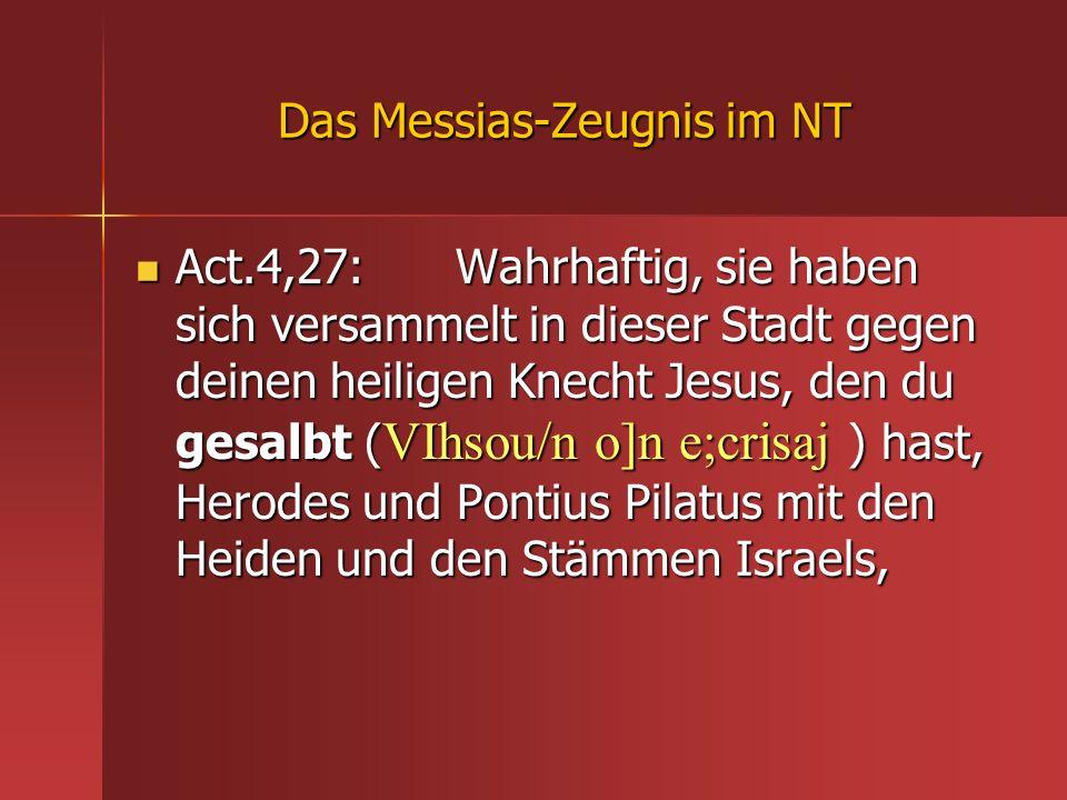 Das Messias-Zeugnis im NT