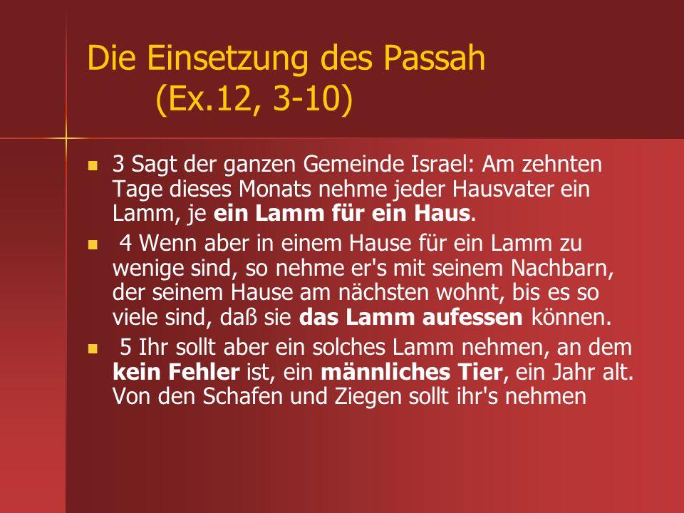 Die Einsetzung des Passah (Ex.12, 3-10)