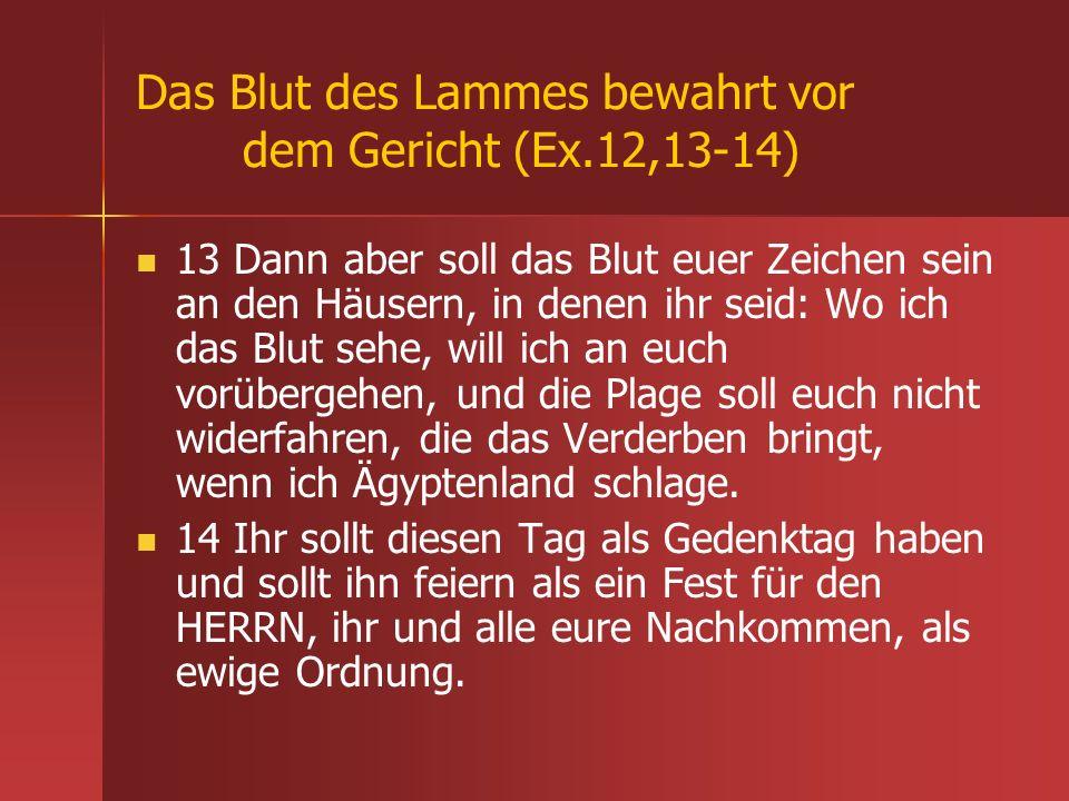 Das Blut des Lammes bewahrt vor dem Gericht (Ex.12,13-14)
