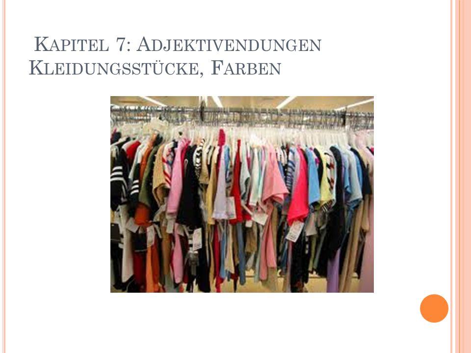 Kapitel 7: Adjektivendungen Kleidungsstücke, Farben