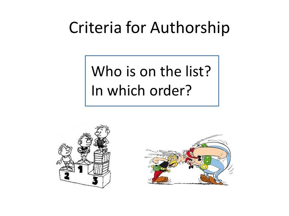 Criteria for Authorship